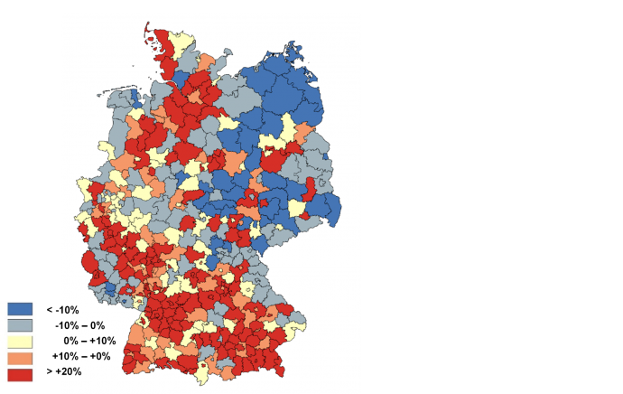 Change of electricity demand in the regions in Germany 2050 vs. 2015